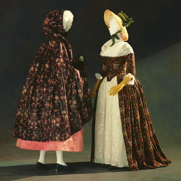 Hooded Cape, Petticoat [Left] Dress (robe à l'anglaise) [Right]