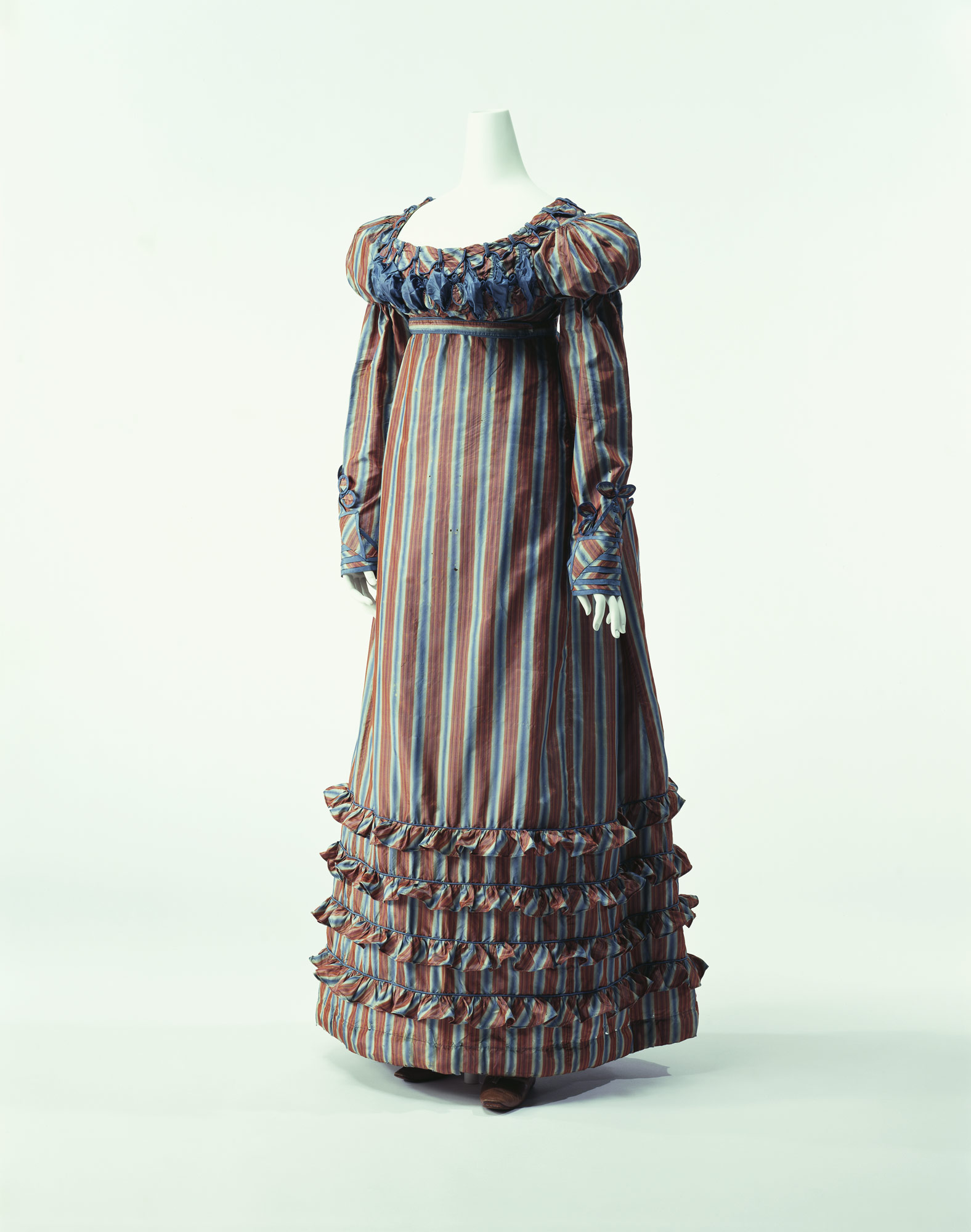 bb51d7145cbc c. 1820. Brown and blue striped silk taffeta; spencer and dress set.